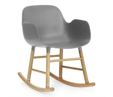 Normann Copenhagen Chaise à bascule avec accoudoirs forme plastique gris 73x56x65cm en bois de chêne