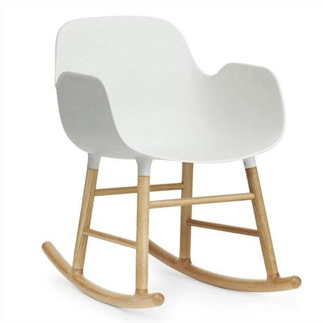 Normann Copenhagen Rocking chair with armrests form white plastic oak wood 73x48x65cm