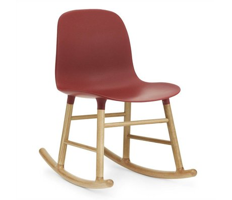 Normann Copenhagen Rocking chair shaped red plastic oak wood 73x48x65cm