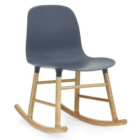 Normann Copenhagen Rocker shape blue plastic oak wood 73x48x65cm