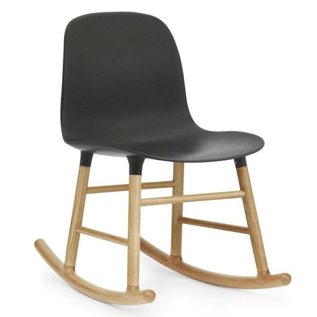 Normann Copenhagen Rocker shape black plastic oak wood 73x48x65cm