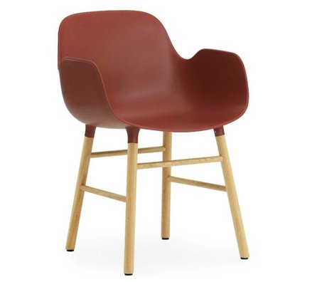 Normann Copenhagen Armchair shape red plastic oak 79,8x56x52cm