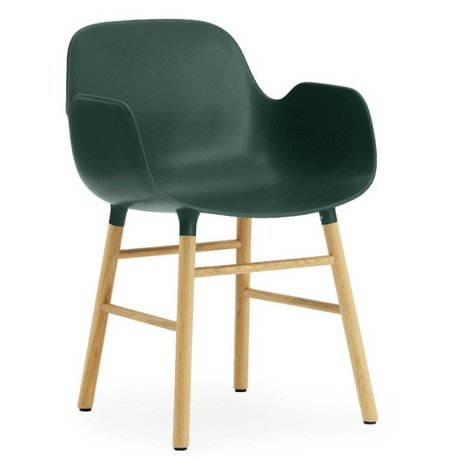 Normann Copenhagen Stuhl mit Armlehne Form in grün Eichenholz mit Kunststoff 79,8x56x52cm
