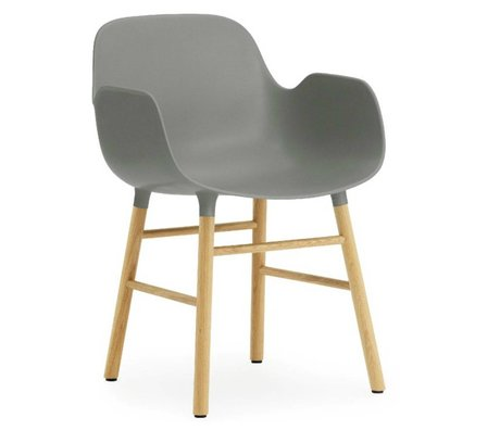 Normann Copenhagen Armchair shape gray plastic oak 79,8x56x52cm