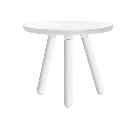 Normann Copenhagen Tablo de plástico blanco de mesa con patas de madera de fresno blanco Ø50cm