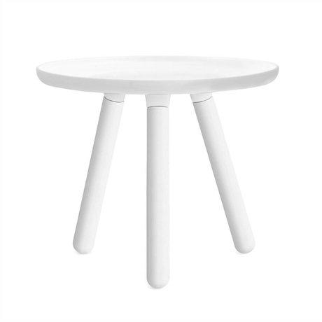 Normann Copenhagen Tableau Tablo plastique blanc avec pieds en bois de frêne blanc Ø50cm