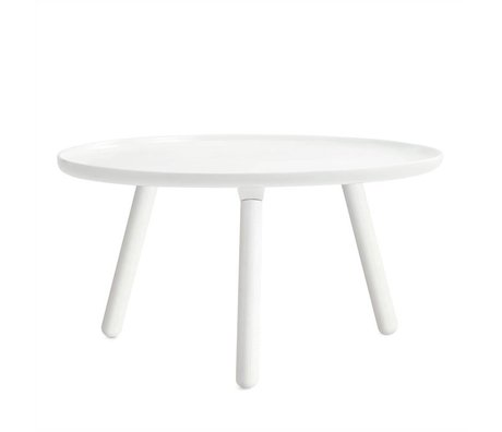Normann Copenhagen Table Tablo white plastic with white ash wood legs ø78cm