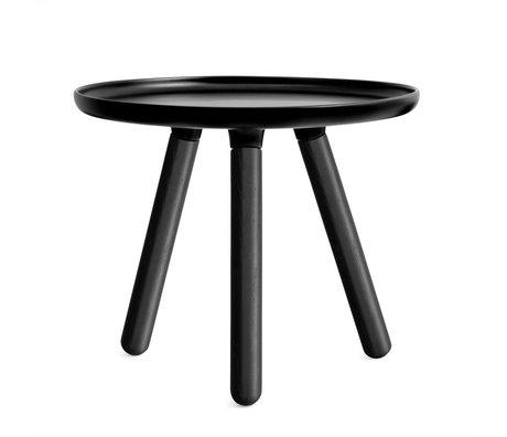 Normann Copenhagen Tablo bord sort plast med sort aske træ ben Ø50cm