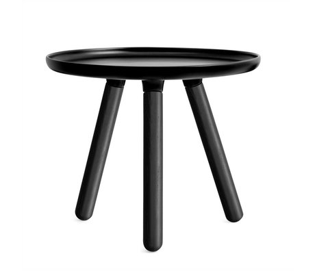 Normann Copenhagen Tablo table black plastic with black ash wood legs Ø50cm