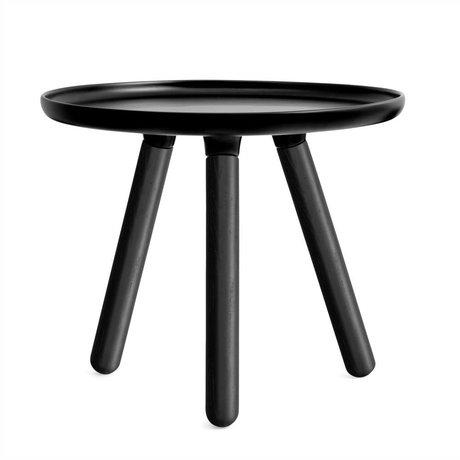 Normann Copenhagen tavolo Tablo plastica nera con cenere nero gambe in legno Ø50cm
