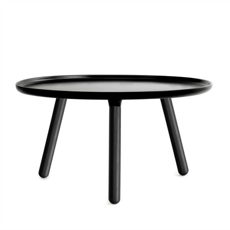 Normann Copenhagen Tablo table black plastic with black ash wood legs ø78cm