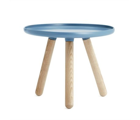 Normann Copenhagen Table Tablo blue plastic ash wood Ø50cm