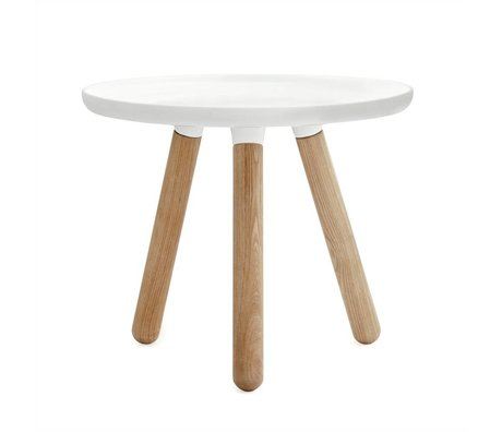 Normann Copenhagen Tablo table white plastic ash wood Ø50cm