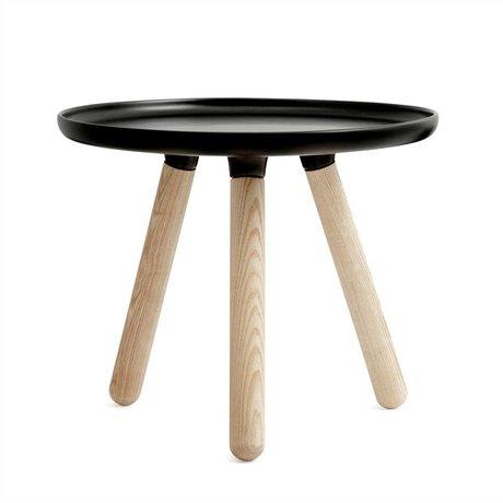 Normann Copenhagen Table Tablo black plastic ash wood Ø50cm