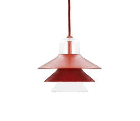 Normann Copenhagen Asılı lamba Ikono kırmızı kaplı çelik cam Ø20cm