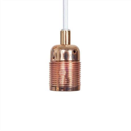 Frama Shop Lampen Aufhängung Electra mit E27 Fassung aus Kupfer weiß Metall Ø4x7,2cm