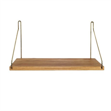 Frama Shop Bookshelf Gold Brass brass oak 40x20cm