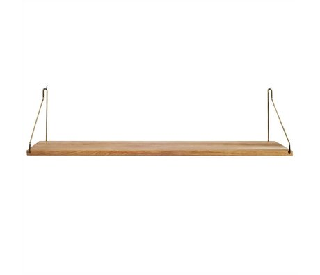Frama Shop Bookshelf Gold Brass brass oak 80x20cm