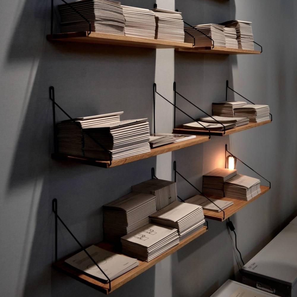 frama shop b cherregal eichenholz schwarz stahl 80x20cm. Black Bedroom Furniture Sets. Home Design Ideas