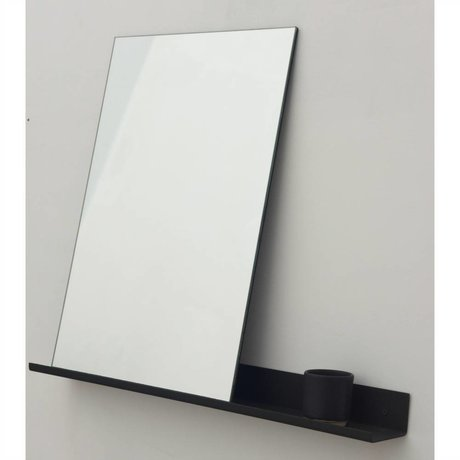 Frama Shop Specchio Mensola 70x90cm alluminio nero