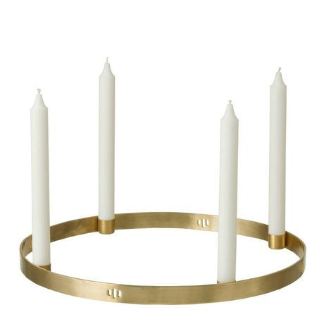 Ferm Living Kerzenständer Circle Brass in golden ø38cm