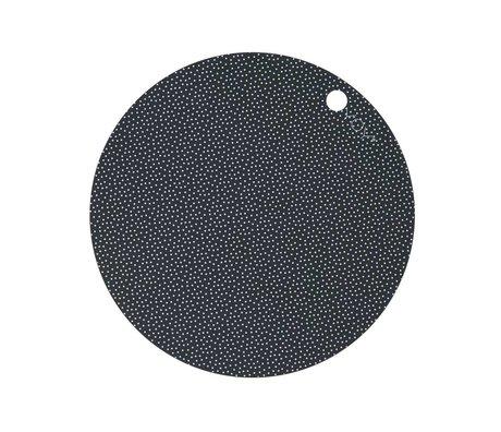 OYOY İki 39x0,15cm ve Placemat Nokta Baskı beyaz, koyu gri silikon seti