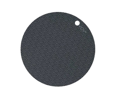 OYOY Placemat Dot Print white dark gray silicone set of two 39x0,15cm