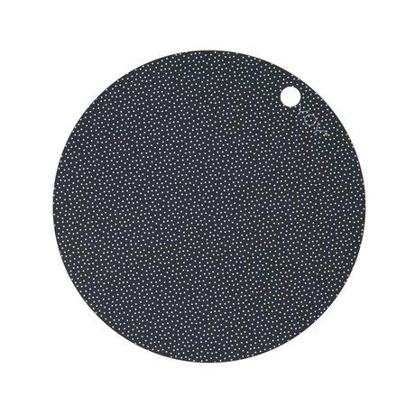 OYOY Dækkeserviet Dot Print hvid mørkegrå silikone sæt af to 39x0,15cm