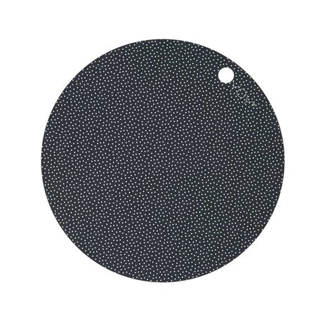 OYOY Platzdeckchen Dot Print weiß dunkelgrau aus Silikon 2er Set 39x0,15cm