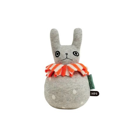 OYOY Roly-poly rabbit light gray orange cotton 12x22cm
