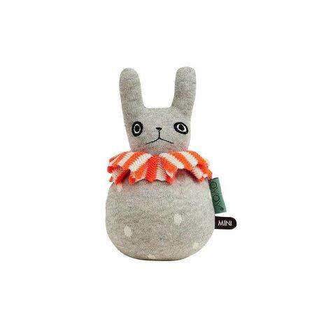 OYOY Tıknaz tavşan açık gri turuncu pamuklu 12x22cm
