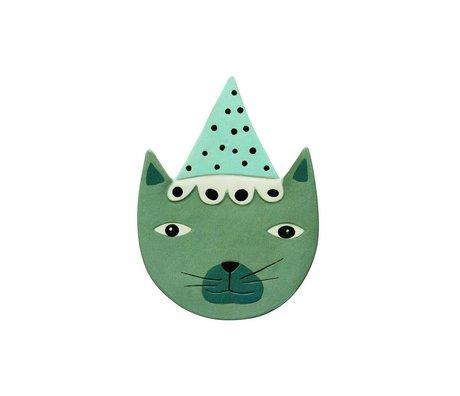 OYOY Wanddekoration Buster Cat blau grün Keramik 20x27c