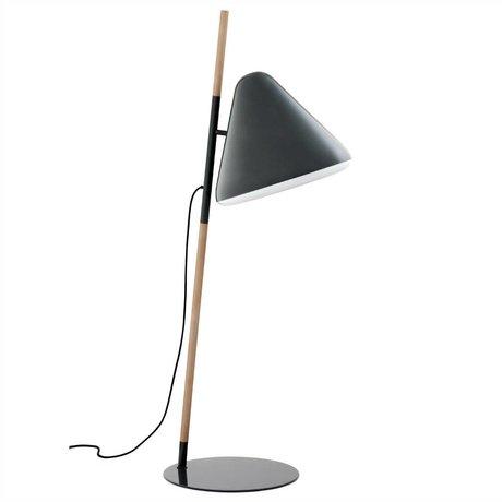 Normann Copenhagen Zemin lambası Merhaba gri metal ahşap Ø49x165cm