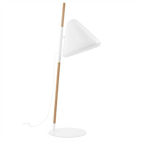 Normann Copenhagen Zemin lambası Merhaba beyaz metal ahşap Ø49x165cm