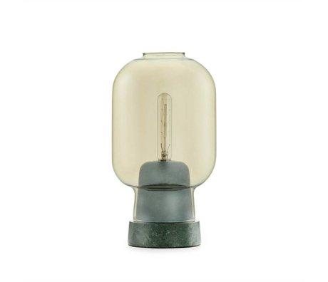 Normann Copenhagen Tischlampe Amp gold Glas grün Marmor Ø14x26,5cm