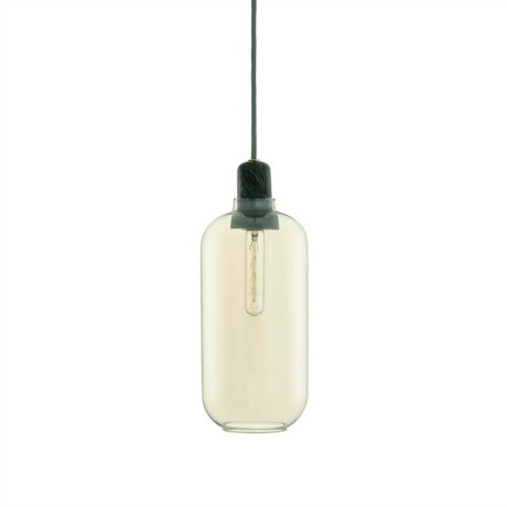 Normann Copenhagen Suspension Amp verre Or marbre vert Ø11,2x26cm