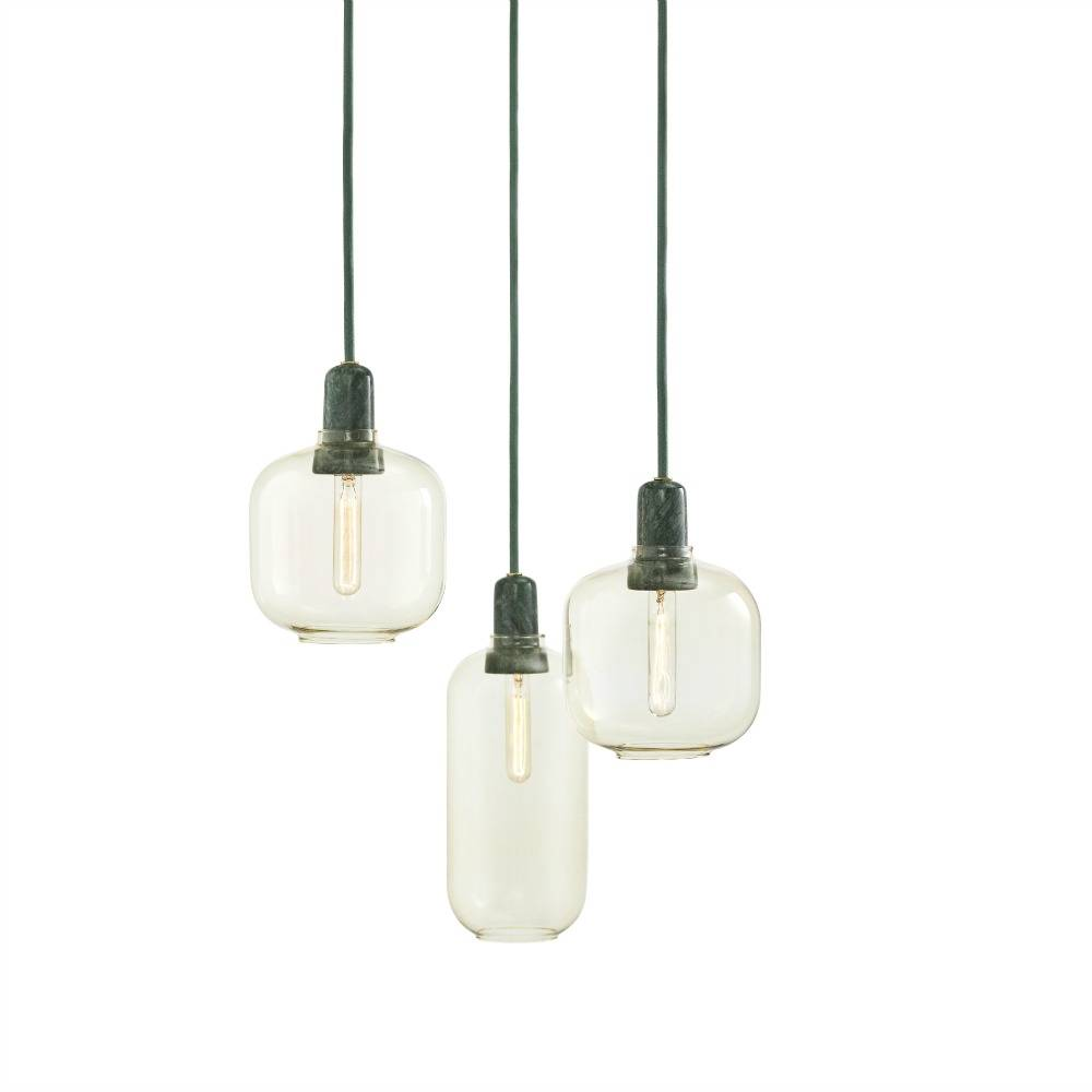 normann copenhagen h ngende lampe amp golf glas gr n marmor 14x17cm. Black Bedroom Furniture Sets. Home Design Ideas