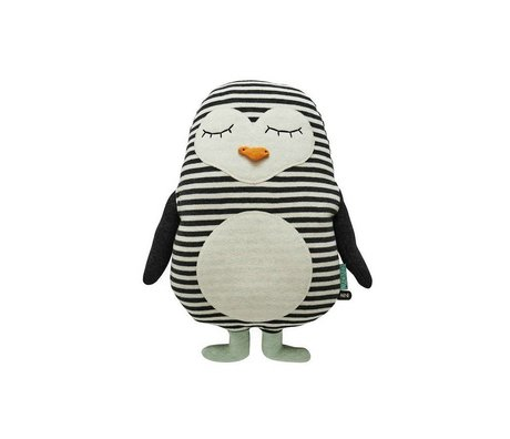 OYOY Penguin white black cotton 31x41cm