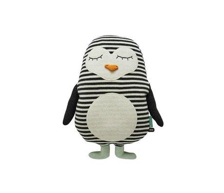 OYOY Penguin white black cotton 31x41cm