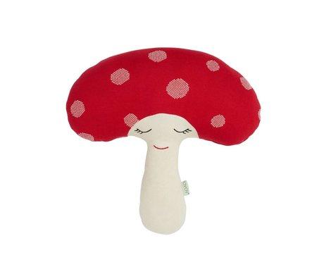 OYOY Funghi peluche rosso 52x14x46cm di cotone bianco