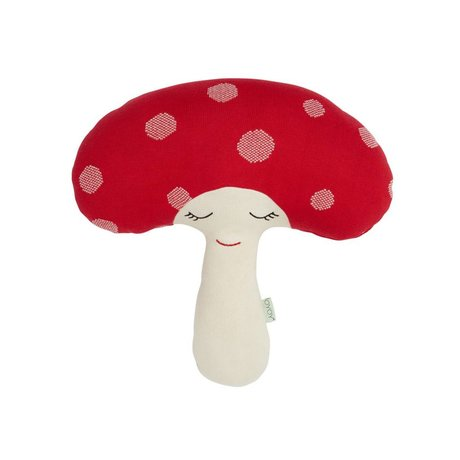 OYOY Peluş Mantar kırmızı beyaz pamuk 52x14x46cm