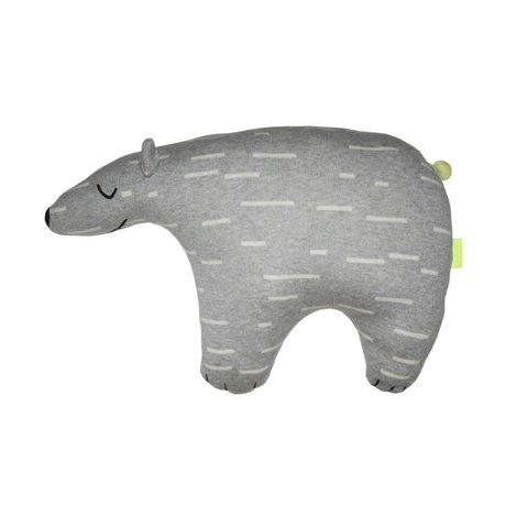 OYOY Peluche Knut Polar gris coton blanc 52x14x34cm