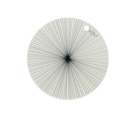 OYOY İki 39x0,15cm ve Placemat siyah beyaz silikon seti