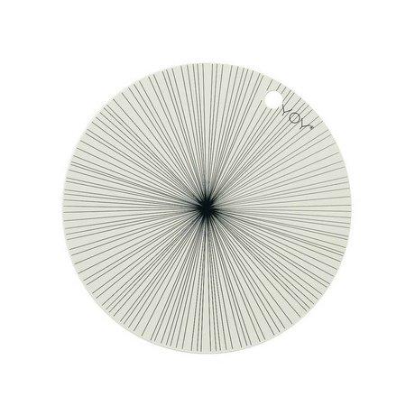 OYOY Mantel individual blanco conjunto de silicona negro de dos 39x0,15cm