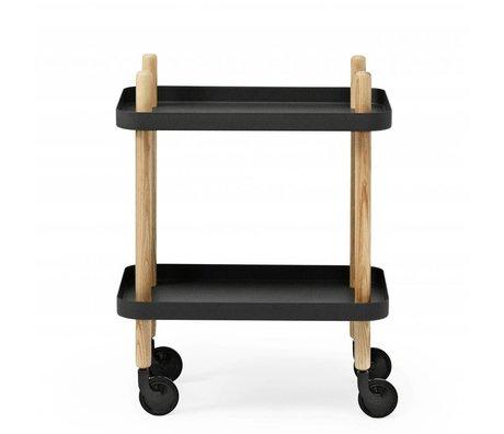 Normann Copenhagen bloque lateral de acero negro de madera 35x64x50cm