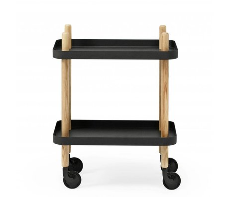 Normann Copenhagen Side block black steel wood 35x64x50cm
