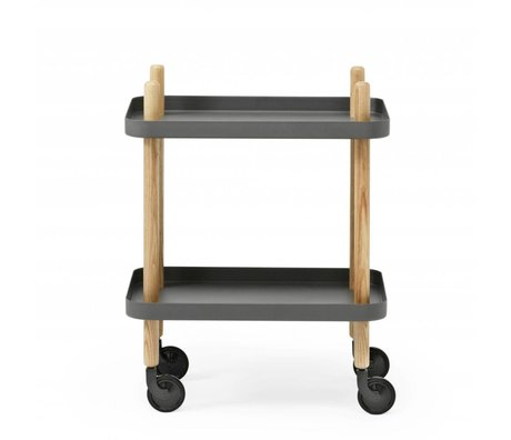 Normann Copenhagen Side block dark gray steel timber 35x64x50cm