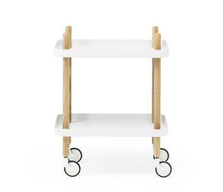 Normann Copenhagen Lado del bloque de acero blanco de madera 35x64x50cm