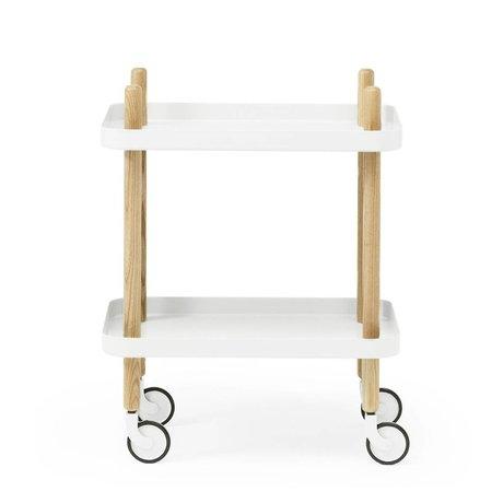 Normann Copenhagen Yan Blok beyaz çelik ahşap 35x64x50cm