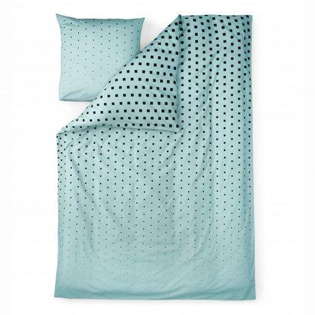 Normann Copenhagen Bedcover Cubo azul de algodón 140x200cm